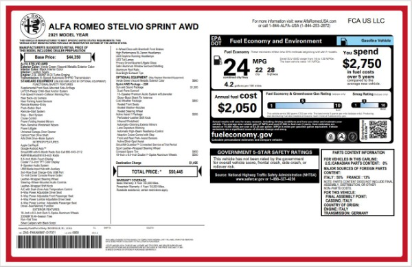 New 2021 Alfa Romeo Stelvio Q4 for sale $50,445 at Maserati of Westport in Westport CT 06880 22