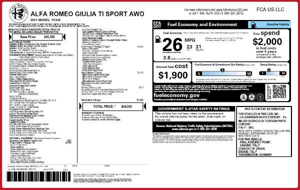 New 2021 Alfa Romeo Giulia Ti Sport Q4 for sale $54,050 at Maserati of Westport in Westport CT 06880 2