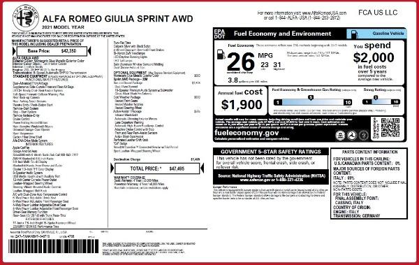 New 2021 Alfa Romeo Giulia Q4 for sale Call for price at Maserati of Westport in Westport CT 06880 23