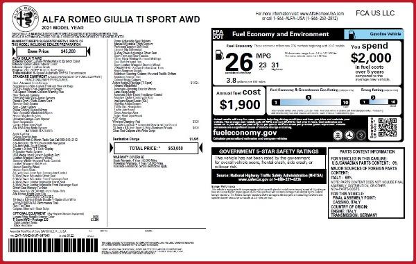 New 2021 Alfa Romeo Giulia Ti Sport Q4 for sale $53,050 at Maserati of Westport in Westport CT 06880 22
