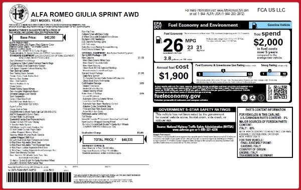 New 2021 Alfa Romeo Giulia Q4 for sale Sold at Maserati of Westport in Westport CT 06880 2