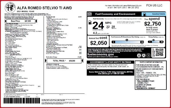 New 2021 Alfa Romeo Stelvio Ti Q4 for sale $56,800 at Maserati of Westport in Westport CT 06880 2