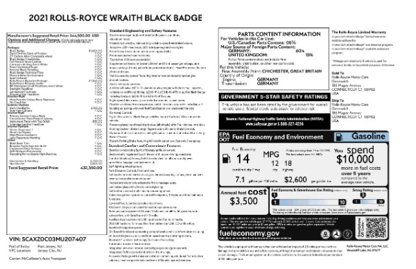 New 2021 Rolls-Royce Wraith Black Badge for sale Call for price at Maserati of Westport in Westport CT 06880 9