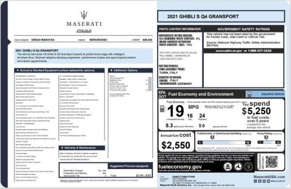New 2021 Maserati Ghibli S Q4 GranSport for sale $100,635 at Maserati of Westport in Westport CT 06880 20
