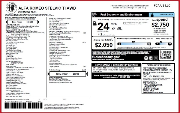 New 2021 Alfa Romeo Stelvio Ti Q4 for sale $51,900 at Maserati of Westport in Westport CT 06880 2