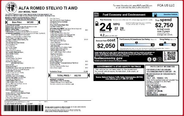 New 2021 Alfa Romeo Stelvio Ti Q4 for sale $52,700 at Maserati of Westport in Westport CT 06880 2