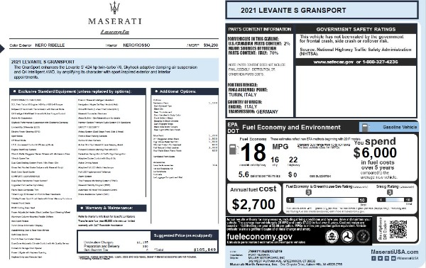 New 2021 Maserati Levante S Q4 GranSport for sale $105,849 at Maserati of Westport in Westport CT 06880 2