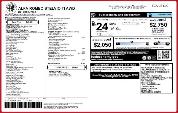 New 2021 Alfa Romeo Stelvio Ti Q4 for sale $52,045 at Maserati of Westport in Westport CT 06880 2
