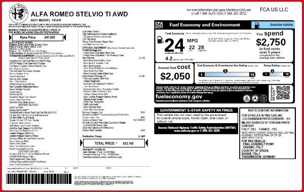 New 2021 Alfa Romeo Stelvio Ti Q4 for sale $53,740 at Maserati of Westport in Westport CT 06880 2