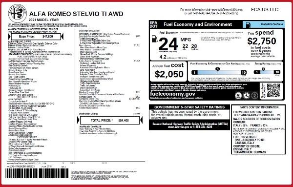 New 2021 Alfa Romeo Stelvio Ti Q4 for sale $54,400 at Maserati of Westport in Westport CT 06880 26
