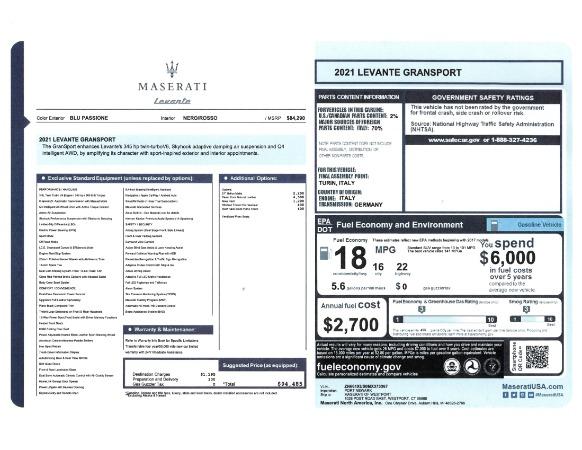 New 2021 Maserati Levante GranSport for sale Call for price at Maserati of Westport in Westport CT 06880 23