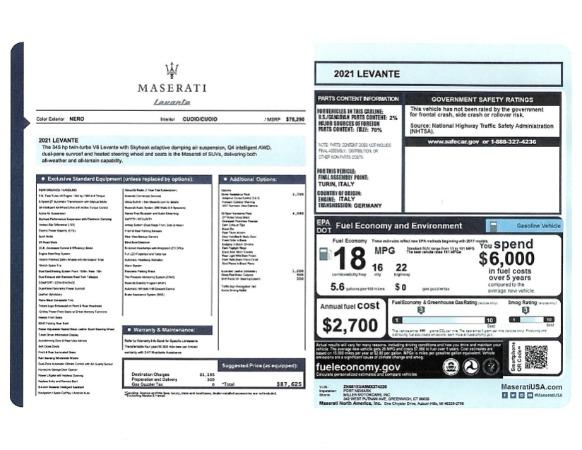 New 2021 Maserati Levante for sale $87,625 at Maserati of Westport in Westport CT 06880 2
