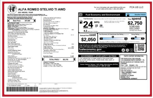 New 2021 Alfa Romeo Stelvio Ti for sale $52,705 at Maserati of Westport in Westport CT 06880 2