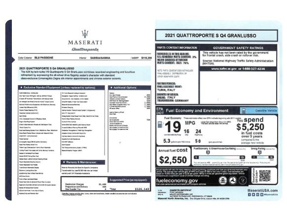 New 2021 Maserati Quattroporte S Q4 GranLusso for sale $126,149 at Maserati of Westport in Westport CT 06880 24