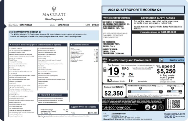 New 2022 Maserati Quattroporte Modena Q4 for sale $128,775 at Maserati of Westport in Westport CT 06880 23