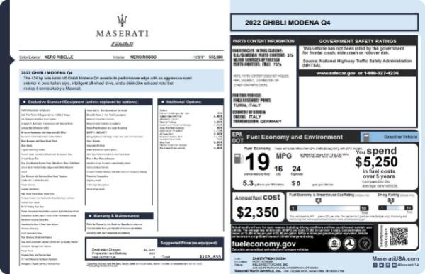 New 2022 Maserati Ghibli Modena Q4 for sale $103,855 at Maserati of Westport in Westport CT 06880 19