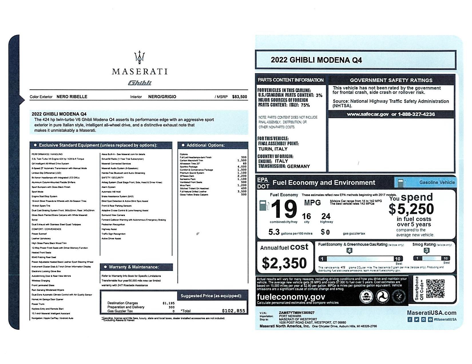 New 2022 Maserati Ghibli Modena Q4 for sale $102,855 at Maserati of Westport in Westport CT 06880 1